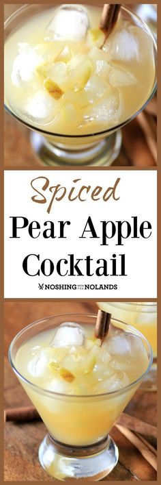 Spiced Pear Apple Cocktail by Noshing With The Nolands - This cool and refreshing fall libation is a phenomenal addition to your holiday season! A perfect Thanksgiving cocktail! Fall Drinks, Holiday Cocktails, Cocktail Drinks, Cocktail Recipes, Christmas Drinks, Alcoholic Drinks, Bourbon Drinks, Christmas Goodies, Party Drinks