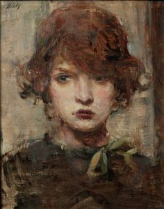 """Ron Hicks (b.1965) """"Pensive Redhead"""". Hicks paints with a muted palette, rarely using pure color."""