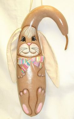 Easter Bunny Rabbit Gourd   Hand Painted Gourd by FromGramsHouse, $28.00