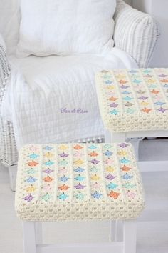Lovely granny square stool cover