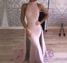 2018 High Neck Sleeveless Mermaid Prom Dresses Sparkly