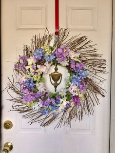 Beautiful spring Summer floral farmhouse French cottage morning Due wreath. This frees features soft blues lavenders White silk flowers and Green accents Green Accents, Easter Wreaths, Spring Crafts, Silk Flowers, Grapevine Wreath, Decor Crafts, Grape Vines, Color Combos, Floral Arrangements