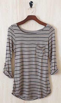Striped soft long sleeve shirt.