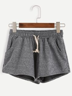 Grey Marled Knit Drawstring Shorts — 0.00 € ---------------------color: Grey size: one-size