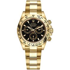 Rolex Cosmograph Daytona Yellow Gold 116508 Black Index Oyster Watch ($28,413) ❤ liked on Polyvore featuring men's fashion, men's jewelry, men's watches, rolex mens watches, mens gold watches and engraved mens watches