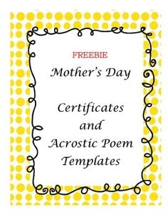 Acrostic Mother's Day Poems