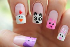 Nail Art the nail art academy Farm Animal Nails, Animal Nail Art, Nails For Kids, Girls Nails, Kid Nails, Minimalist Nails, Square Nail Designs, Nail Art Designs, Nail Technician Courses