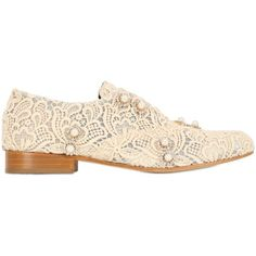 Designer Clothes, Shoes & Bags for Women Lace Oxfords, Lace Flats, Brogues, Loafers, Pearl Cream, Cream Cream, Cream Flats, Pearl Shoes, Oxford Flats