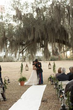 southern wedding using an aisle runner