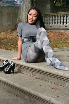 Beautiful Asian Wifey in hot sweaty funky grey argyle tights #Legwear #Legwearfashion