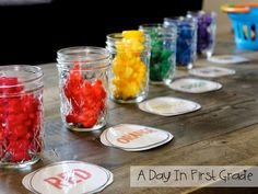 back to school math center: sorting by color