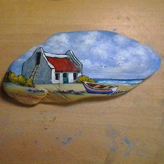 Photo from mariusprinslooart Seashell Painting, Wood Painting Art, Pebble Painting, Pebble Art, Stone Painting, Stone Crafts, Rock Crafts, Painted Rocks Kids, Painted Stones