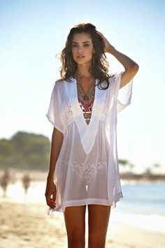 See more about beach outfits, beach accessories and white swimsuit. White Swimsuit, Swimsuit Cover, Sheer Swimsuit, Swim Cover, Bikini Cover Up, Beach Cover Ups, Summer Wear, Summer Outfits, Outfits 2014