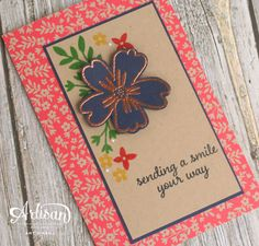 handmade greeting card: Sending a Smile Single  ... navy flower with copper embossing ... luv the kraft printed paper ,,, Love and Affection ... Stampin' Up!