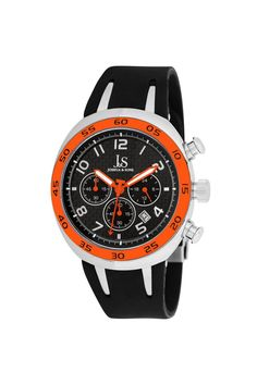 Joshua & Sons Chronograph Carbon Fiber Sport Watch --- love the orange!