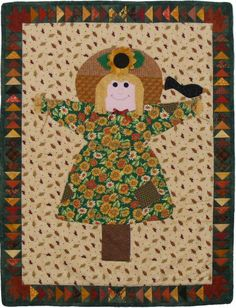Scarecrow Jane quilt pattern ~ She started as a doll, then I drew a note card of her, and then this quilt!