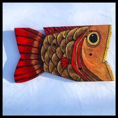 Red and Gold Fish on Reclaimed Wood Original Folk Art — Taylor Arts Fish Wall Art, Fish Art, Wood Block Crafts, Wood Fish, Fish Sculpture, Pallet Art, Recycled Art, Gold Paint, Pebble Art