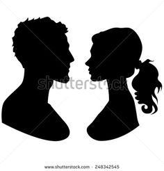 Man and woman faces silhouette - stock vector
