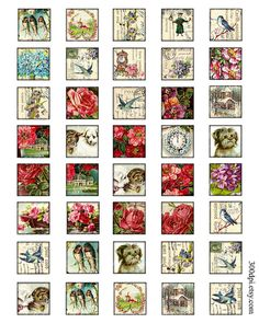 vintage postcard tiles 1 x 1 inch square images by 300dpi on Etsy, $4.25