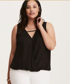 9e49b49ff2f57 New TORRID Georgette Surplice Tank Top Black Buy a really good push-up   this tank tends to draw attention to your décolletage with a  how-low-can-you-go ...