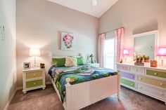 Bright, vibrant colors pair perfectly with crisp, clean white in this bedroom to create a colorful space that is not overwhelming! Highland Homes' Ryleigh model in Ocala, Florida. Ocala Florida, Florida Home, Dream Bedroom, Kids Bedroom, Creative Kids Rooms, Vibrant Colors, Colorful, Highland Homes, Bedroom Pictures