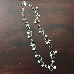 NWT Necklace Cute pearl and silver long necklace. Bought as gift & never worn! Jewelry Necklaces