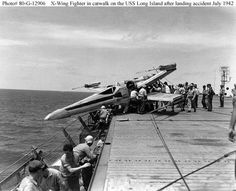 X-wing fighter in catwalk on the USS Long Island after landing accident July 1942 Star wars et WWII Chewbacca, Peter Mayhew, Images Star Wars, Star Wars Pictures, Star Wars Ships, Star Wars Art, X Wing Fighter, Fighter Jets, Air Fighter