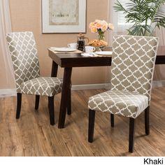 Christopher Knight Home Aurora Fabric Trellis Pattern Dining Chair (Set of 2) (Khaki), Tan (Cotton)