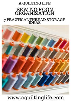 Thread Storage Ideas featured by Top US Quilting Blog, A Quilting Life: Image of thread spools Bobbin Storage, Thread Storage, Sewing Room Organization, Container Organization, My Sewing Room, Sewing Rooms, Art Bin, Quilt Storage, Quilting Room