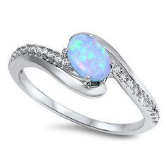 Sterling Silver Light Blue Oval Opal Twist Style Ring Band Sz 5-10 150417123456