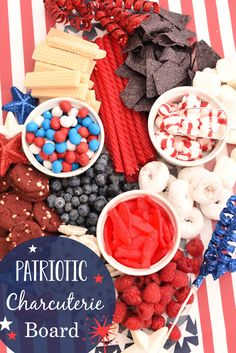 Red, White, & Blue Charcuterie Board for the of July or other American holidays! Get patriotic for Independence Day, Memorial Day or any gathering to celebrate America. Memorial Day Desserts, 4th Of July Desserts, Fourth Of July Food, 4th Of July Celebration, 4th Of July Party, July 4th, Fun Desserts, Fourth Of July Recipes, Baking Desserts