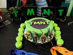 Teenage Mutant Ninja Turtle Cake w/matching cupcakes