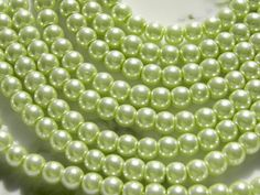 6mm Honeydew Glass Pearl Beads, 100 PC