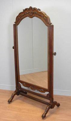 Espejo de pie de caoba ingles antig edades muebles for Espejo ovalado de pie
