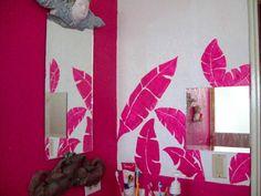 Custom murals, fuchsia leaves by Golondrina Fine art.