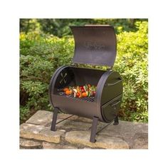 Black Char-Griller BBQ Box Table Top Steel Outdoor Charcoal Cooking Gas Smoker  #CharGriller
