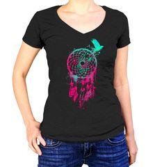 Women's DreamCatcher and Bird Vneck T-Shirt - Juniors Fit