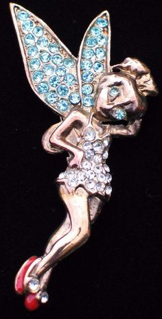 BRONZE TONE TEAL CLEAR RHINESTONE DISNEY TINKER BELL TINK PIN BROOCH JEWELRY  #Unbranded #PINBROOCHJEWELRY