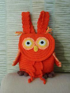 Orange Crochet Owl backpack. Gift for by 3FlowerGirl3Boutique