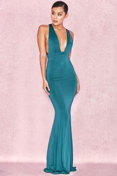 623f6a97c7004c Clothing   Max Dresses    Miacova  Teal Silky Jersey Plunge Maxi Dress Max  Dresses