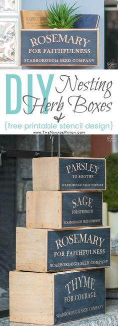 DIY nesting herb boxes   DIY wooden herb crates   Step-by-step hanging herb crate tutorial   Farmhouse style rustic decor   Free stencil   Free printable   Scarborough Fair   Scrap wood home decor   Stenciled home decor   How to stencil   Festive home dec