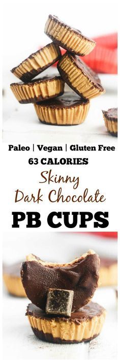 Skinny Dark Chocolate PB Cups Healthy, dark chocolate peanut butter cups that are gluten free, paleo and vegan friendly. Made with PB fit powder, these make the perfect, deliciously low calorie treat! Desserts Keto, Low Calorie Desserts, Brownie Desserts, Low Carb Dessert, Gluten Free Desserts, Dessert Recipes, Paleo Recipes, Free Recipes, Low Calorie Chocolate Bars