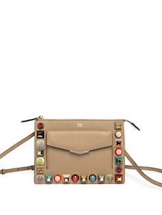Fendi - Multicolor Studded Leather Pouch