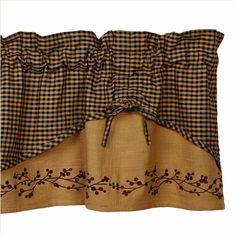 """erry Scalloped Valance features a mini check scallop layer overlaying a berry vine embroidered natural homespun. Hemmed edges; ties can be adjusted. 100% cotton, measures 60""""W x 16""""L. Complete your country look with a Wrought Iron Rod #country #valance #curtains"""