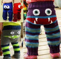 Knitted Monster Pants Free Pattern--I want to make a me-sized pair for roller derby sweats! SKPW