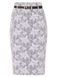 """A smart and sophisticated midi length pencil skirt by Izabel London. Featuring a bodycon high-waisted fit and a black patent effect belt, this monochrome floral style will become a key player in your new season wardrobe. Style with barely there heels and a black cami. <ul> <li>The model is 5""""8 and wears a size 8.</li> <li>The approximate length is 66cm.</li> </ul>"""