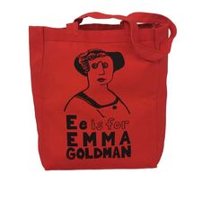 Feminist Tote Bag: E is for Emma Goldman Feminist Screenprint Tote Canvas Tote Bags, Screen Printing, Reusable Tote Bags, Anarchy, Lust, Women, Studio, Diy, Products