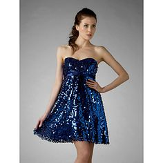 Sweet 16/Cocktail Party/Homecoming/Holiday Dress A-line/Princess Strapless/Sweetheart Short/Mini Sequined Dress – USD $ 99.99