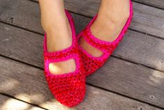 Crochet Mary Jane House Slippers in Red & Pink by WhiteNoiseMaker, $22.50