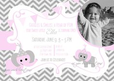 Elephant Birthday Party Invite Girl Pink Gray - Elephant Chevron Birthday Party - Pink Gray - Bunting Banner - Photo Card - First Birthday. $14.00, via Etsy.